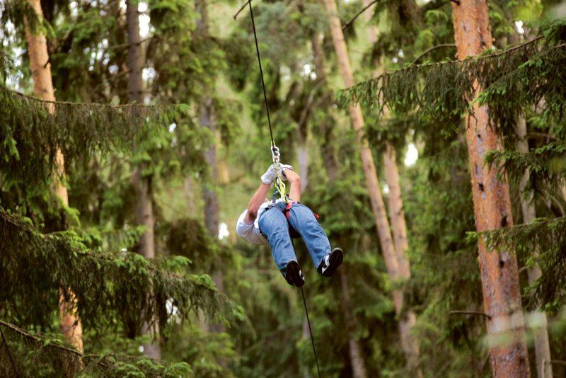 Am Seil im Höllentempo durch  den Wald düsen: Der Kletterpark lässt auch den Adrenalinpegel klettern.