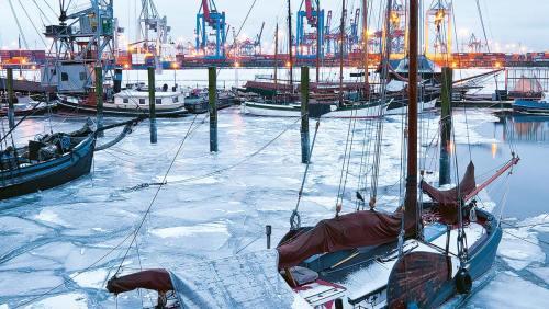 Nicht Kanada, Alaska oder Grönland, sondern die Hansestadt Hamburg im Winterkleid