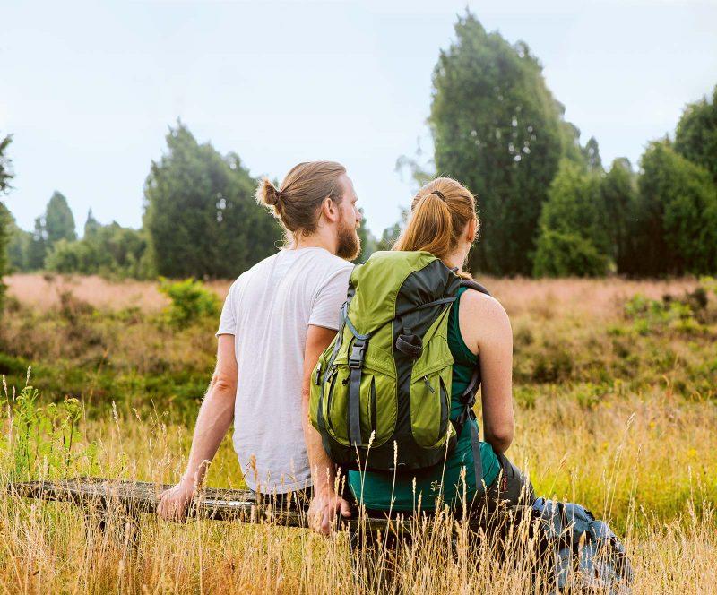Viele Wanderwege durchziehen die Lüneburger Heide, darunter auch der der 223 km lange Heidschnuckenweg.