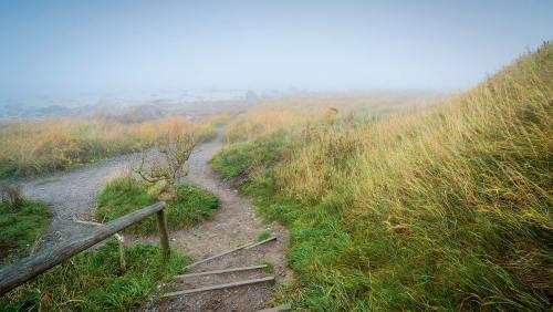 Über zahllose Stufen gelangt man vom Kap Arkona hinab zum Strand.