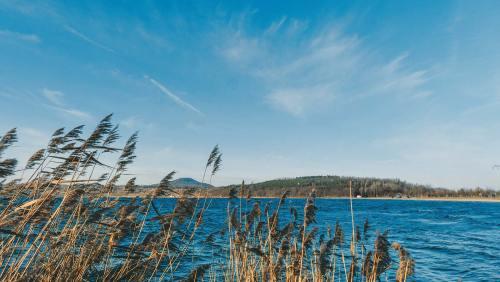 Das Nordufer des Berzdorfer Sees, ein idealer Tummelplatz für Wassersportler aller Couleur